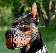 "Hand painted leather dog muzzle ""Flame"" for Doberman"
