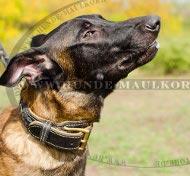 Hundehalsband Leder geflochten mit Nappa innen für Schäferhund