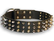 Exclusive leather dog collar with pyramids and spikes