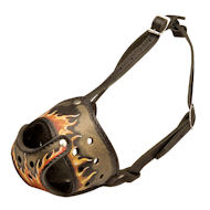 "Leather Dog Muzzle Art ""Flame"" Style"