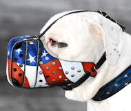 """American Pride"" Hand painted leather dog muzzle"