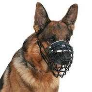 German Shepherd Wire Basket Dog Muzzle, Covered by Black Rubber