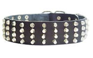 Leather 4 rows pyramids dog collar, extra wide 60 mm