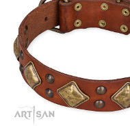 "Exklusives Tan Lederhalsband ""Flight of Fancy"" von FDT Artisan"