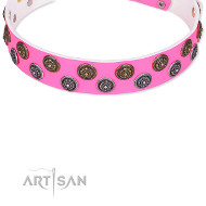 "Festive Leather Dog Collar ""Glamour Finery"" Artisan FDT"