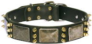 Leather Dog Collar with massive plates and spikes for large dog