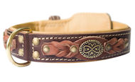 Exclusive Nappa Padded Handmade Leather Dog Collar, Brown