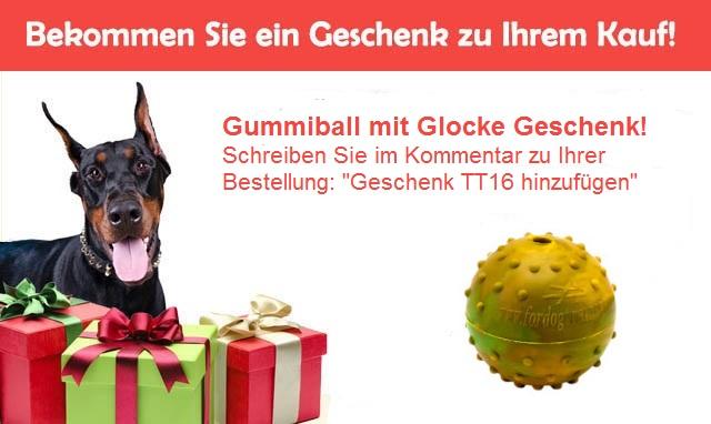 Geschenk zur Bestellung- Hundeball aus Gummi mit Glocke