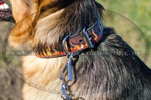 Deisgner-Lederhalsband mit Handbemalung Feuer