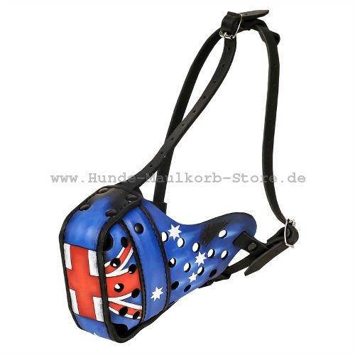 Beißkorb Leder Australische Flagge Design