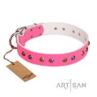 Pinkes Lederhalsband exklusiv