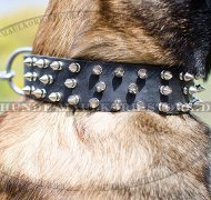 Dog Leather Collar with Spikes Wide Design Top-Quality